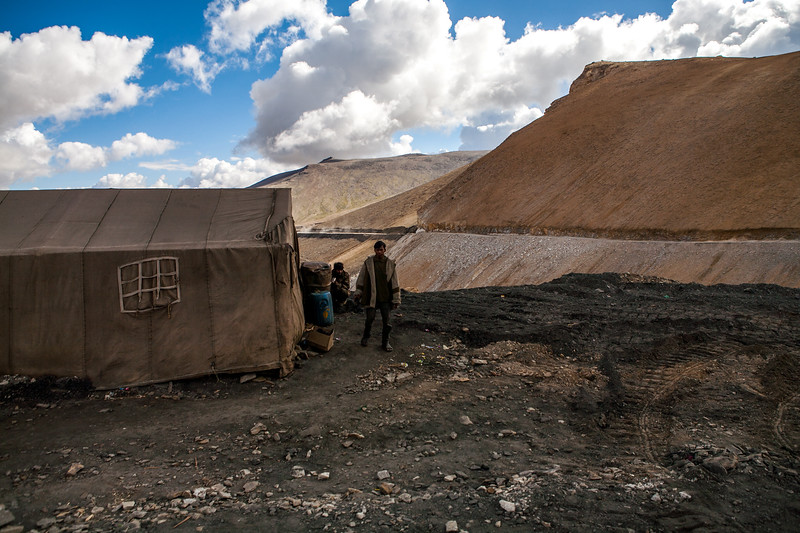 BRO workers and their tent on Tanglang la, the highest mountain pass on the Leh Manali highway, India.