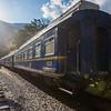 Train and the railway tracks to Aguas Calientes near Machu Picchu, Peru