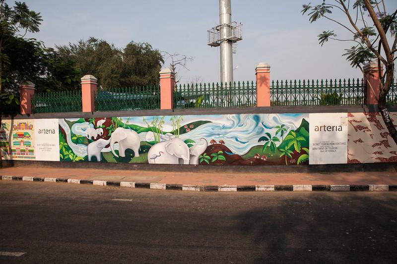 Graffiti lined MG road in Trivandrum, Kerala, India