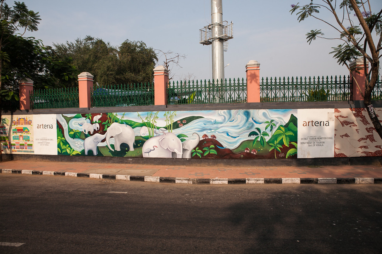 Graffiti lined MG road in Trivandrum, Kerala, India