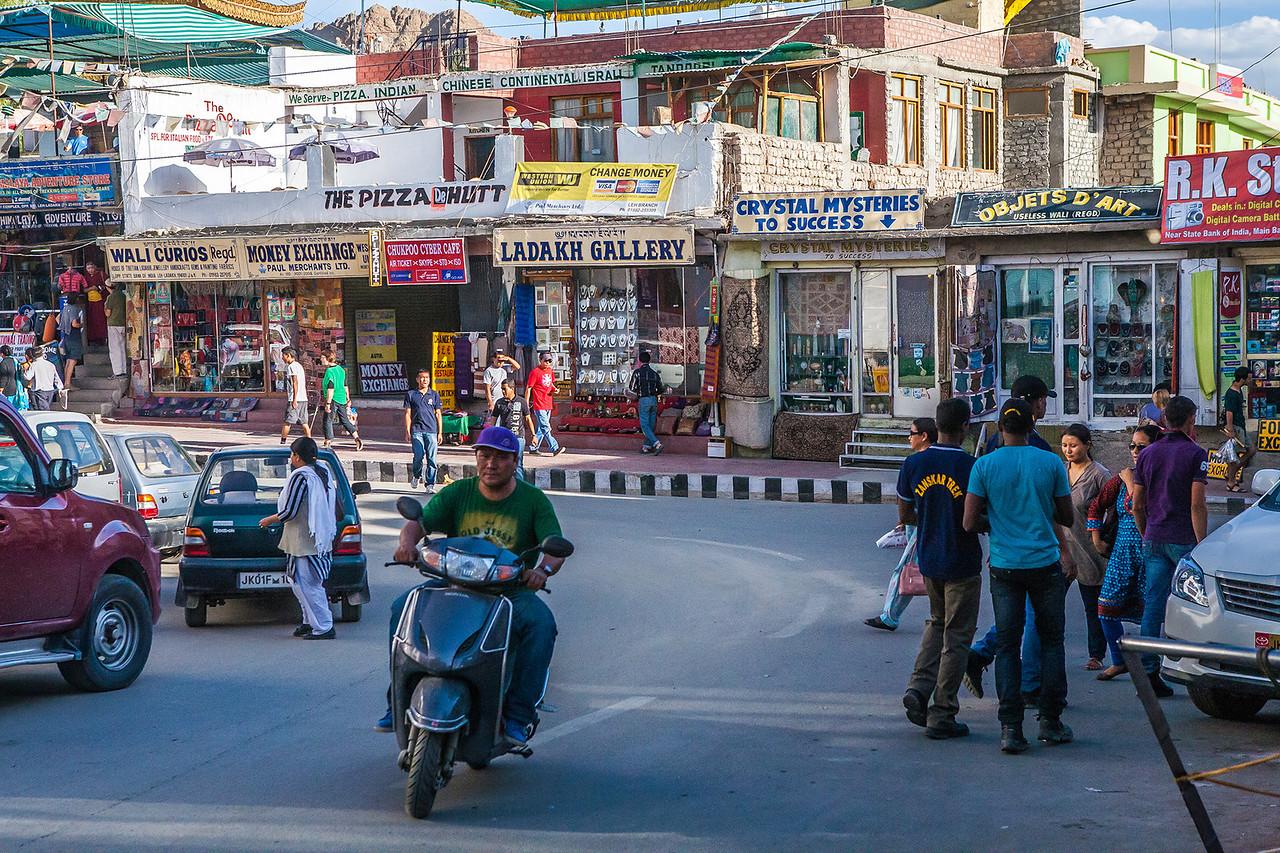 Market in Leh, the biggest city in Ladakh, India
