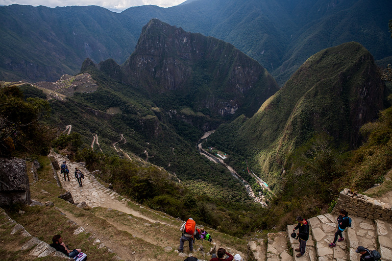Walking towards the Sun Gate at Machu Picchu, the road to the entrance can be seen