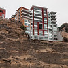 An apartment at the edge of the rock across the beach in Lima, Peru