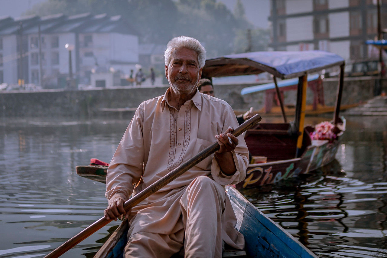 The guy rowing the shikara in Dal lake, Srinagar, Kashmir