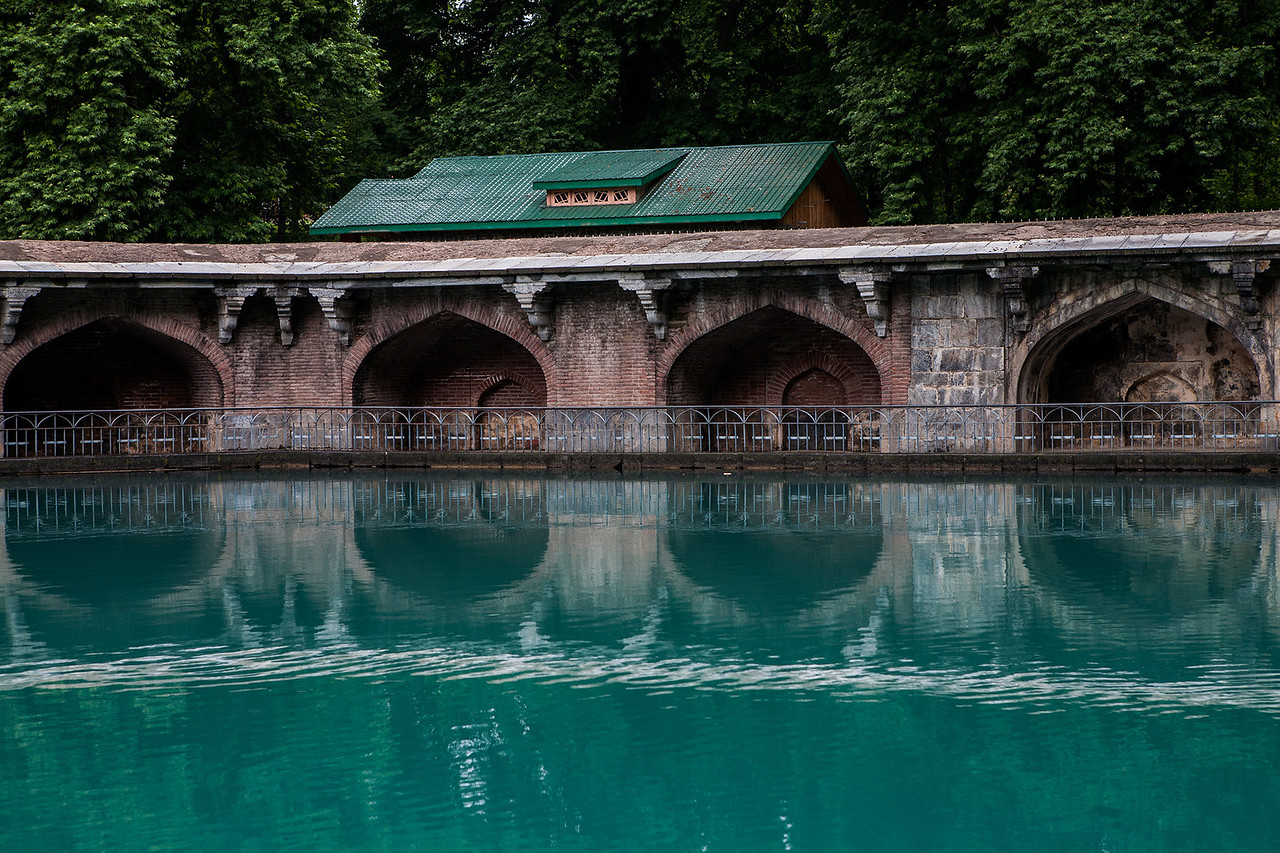 Source of river Jhelum at the Mughal garden in Verinag, Kashmir, India