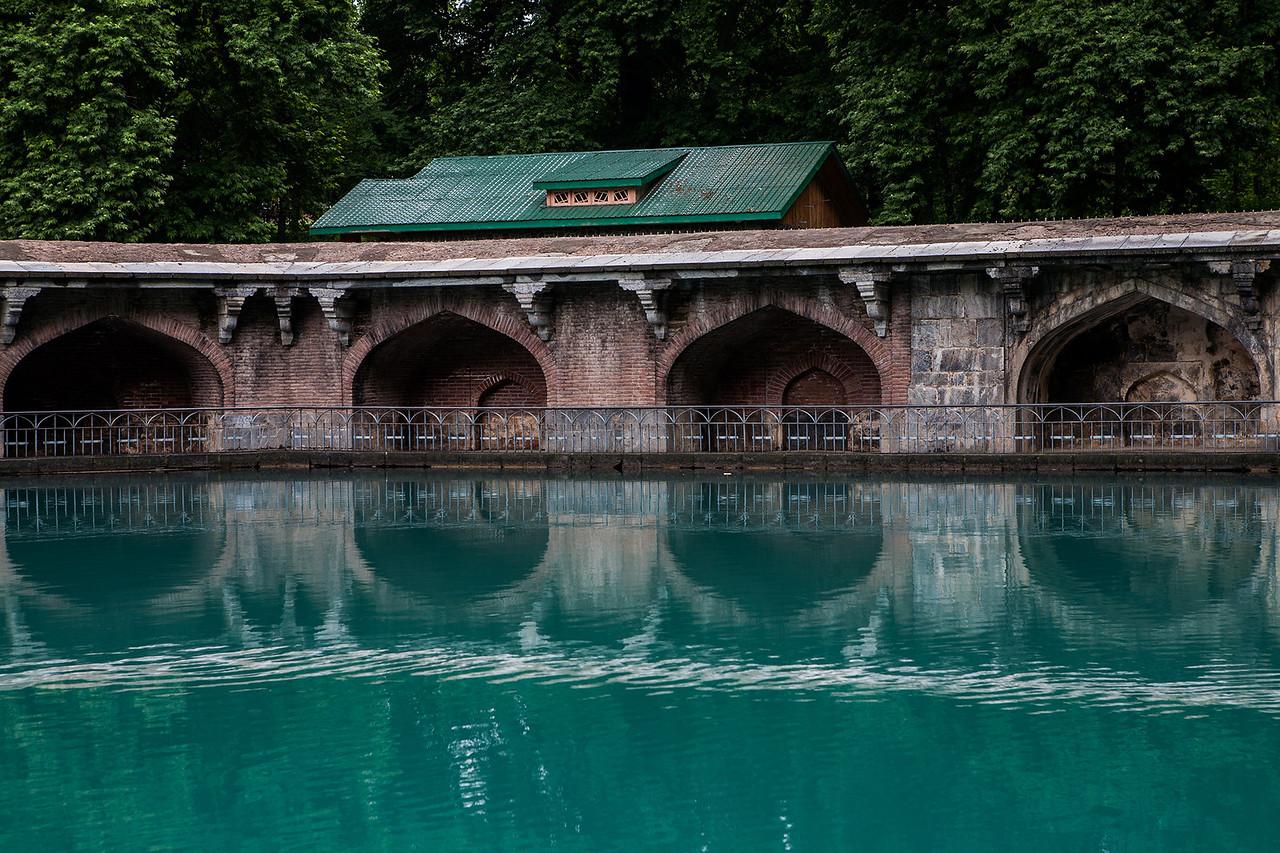 Source of river Jhelum at the Mughal garden in Verinag, Kashmir, India