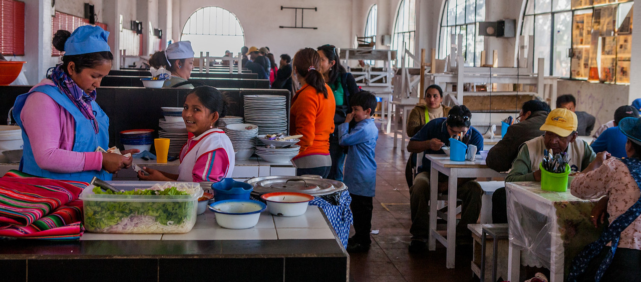 Food stalls at Mercado Central in Sucre, Bolivia