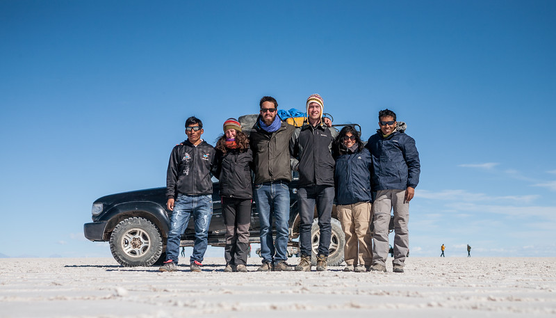 4WD and our group at Salar de Uyuni, Bolivia