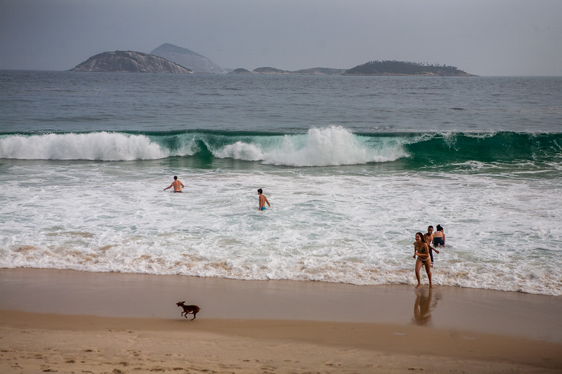 Huge waves at Ipanema beach, Rio de Janeiro, Brazil