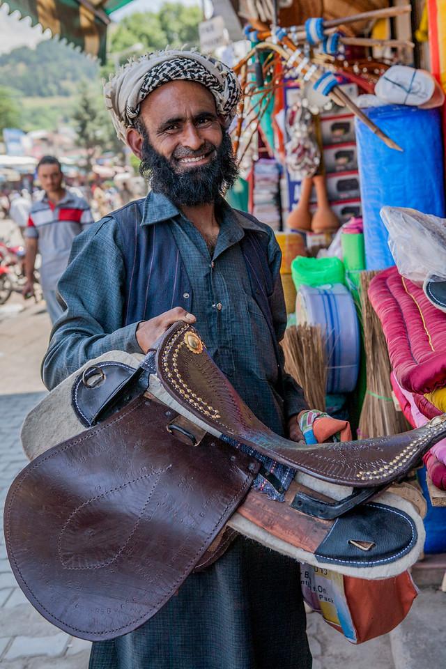 Horseman shopping at Anantnag, Kashmir, India