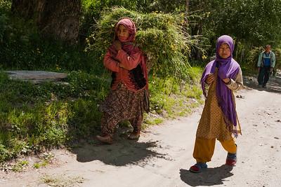 People of Sankoo, a village in Suru valley, near Kargil, at work in the summer months