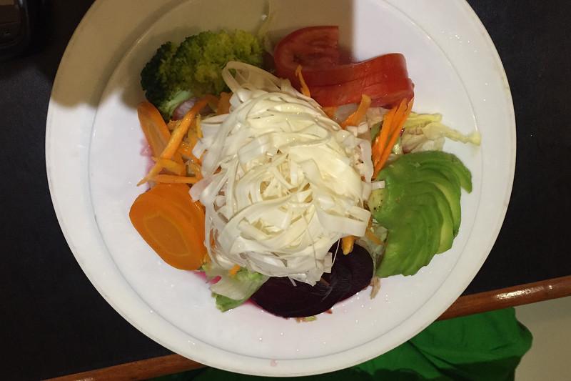 Salad of jungle spaghetti at a cafe in Iquitos, Peru