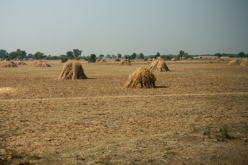 Dry barren landscapes on the Indian Railways train journey to Jaipur, Rajasthan