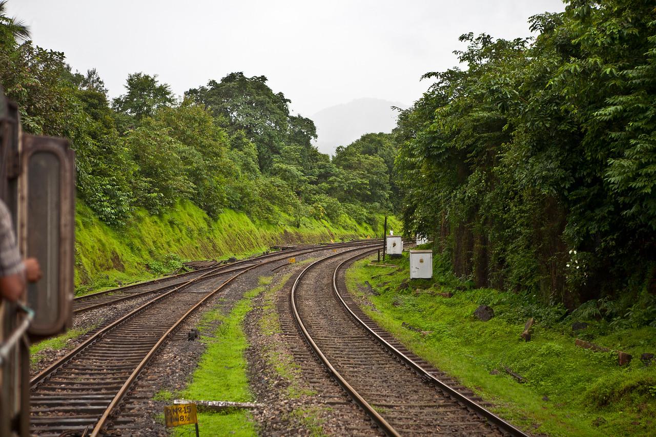 Railway track through Braganza ghat from Kulem to the Dudhsagar waterfalls