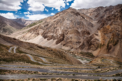 The Gata Loops a series of hairpin bends. It was a roller coaster ride we will never forget. Read full story of the 470 km Leh Manali journey at The Leh Manali route – an epic journey