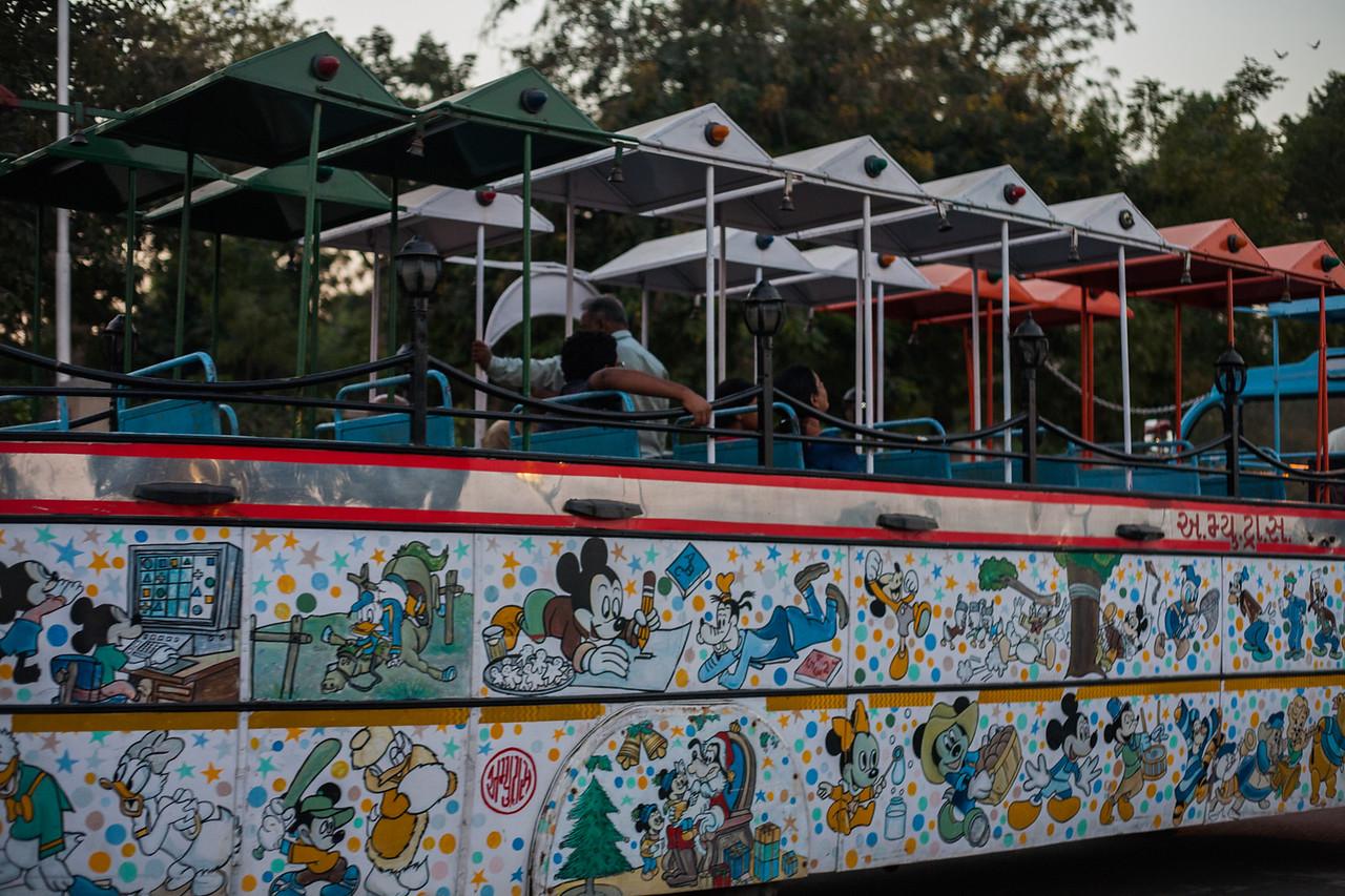Tourist bus at Kankaria lake in Ahmedabad, Gujarat, India