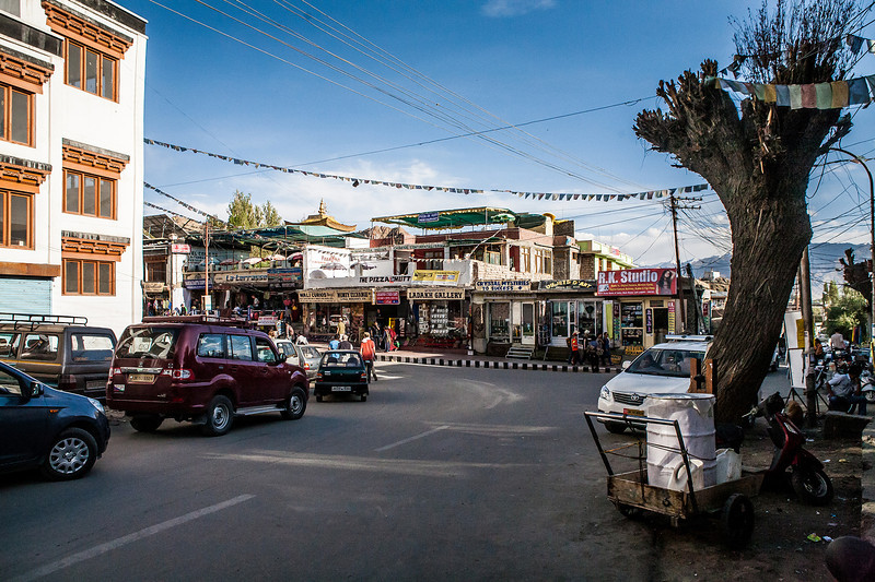 Market in Leh, the biggest city in Ladakh, India
