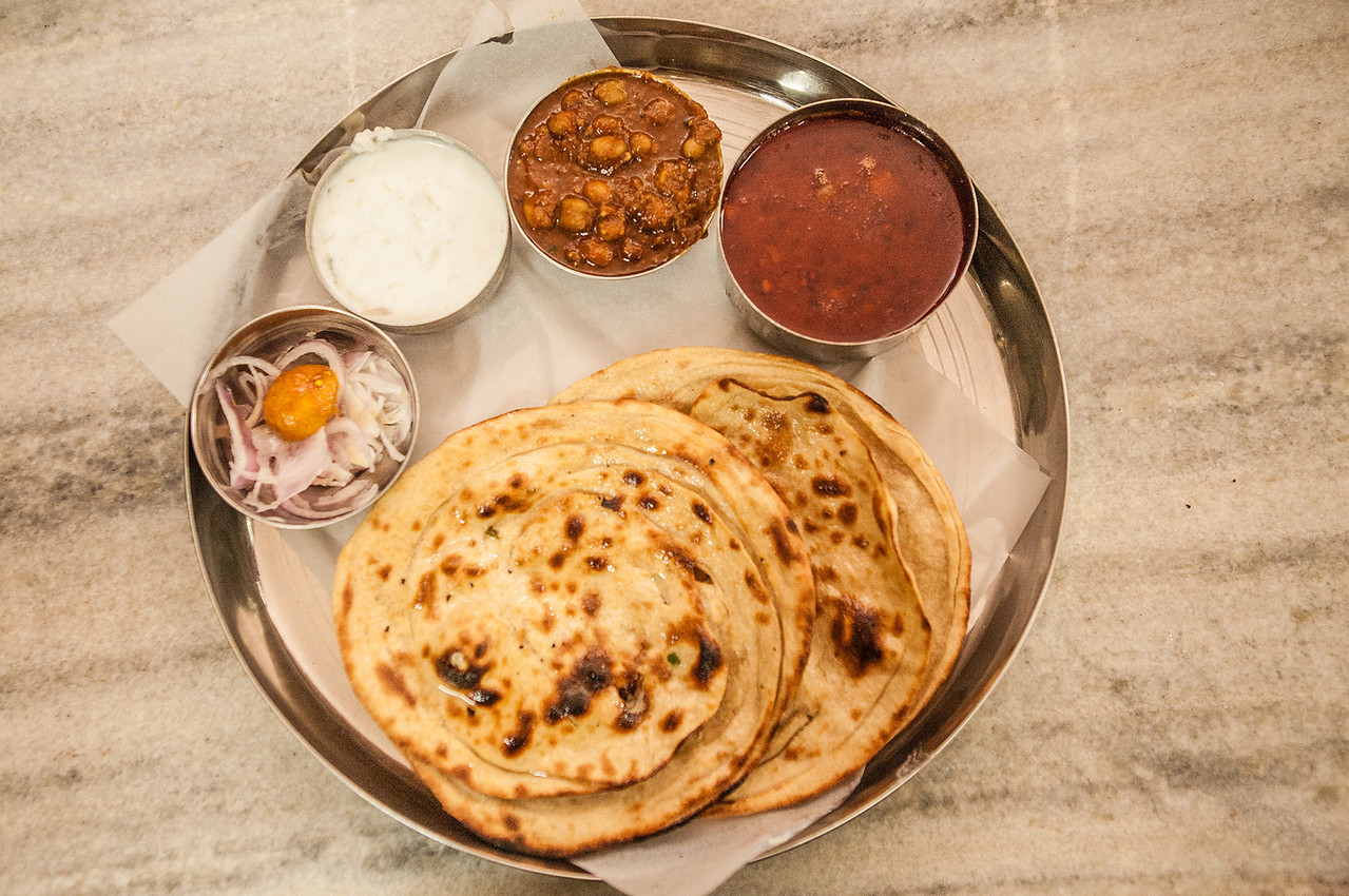 Punjabi Thali in Amritsar at Keasr da Dhaba, India