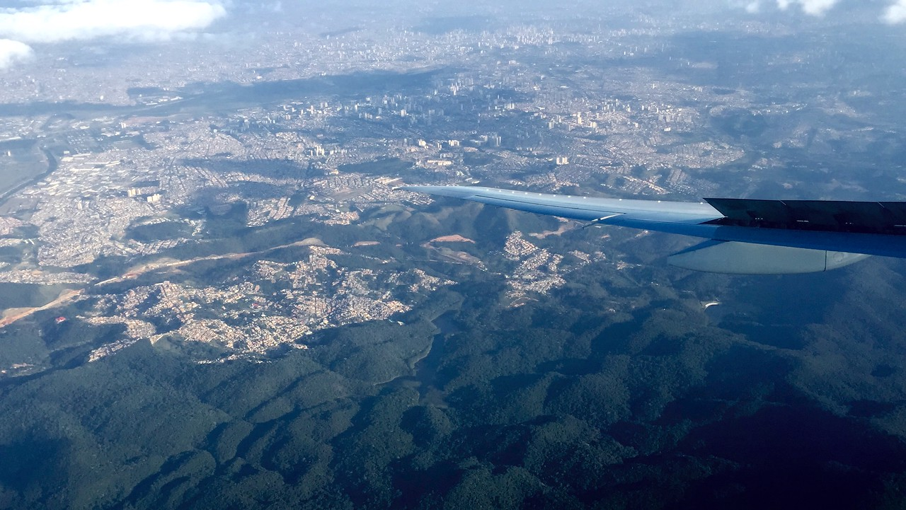Descent of our Qatar Airways flight into Sao Paulo, Brazil