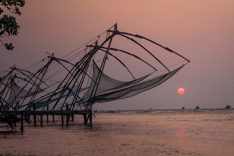 Chinese fishing nets at the beach in Fort Kochi, Kerala