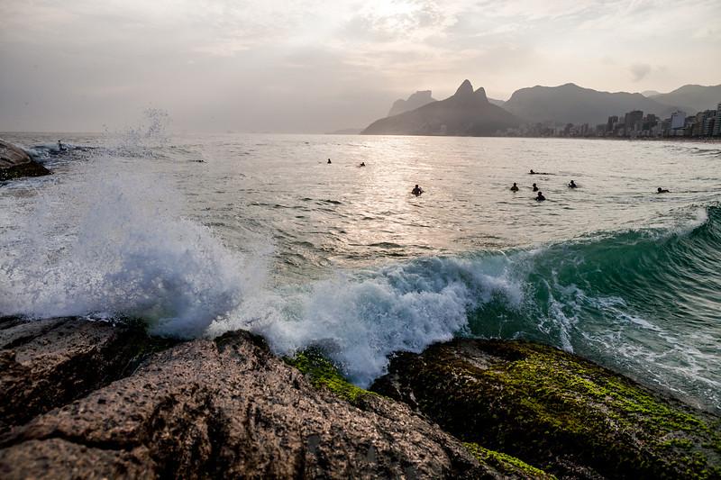 The splash from the Aporador rock, Rio de Janeiro, Brazil
