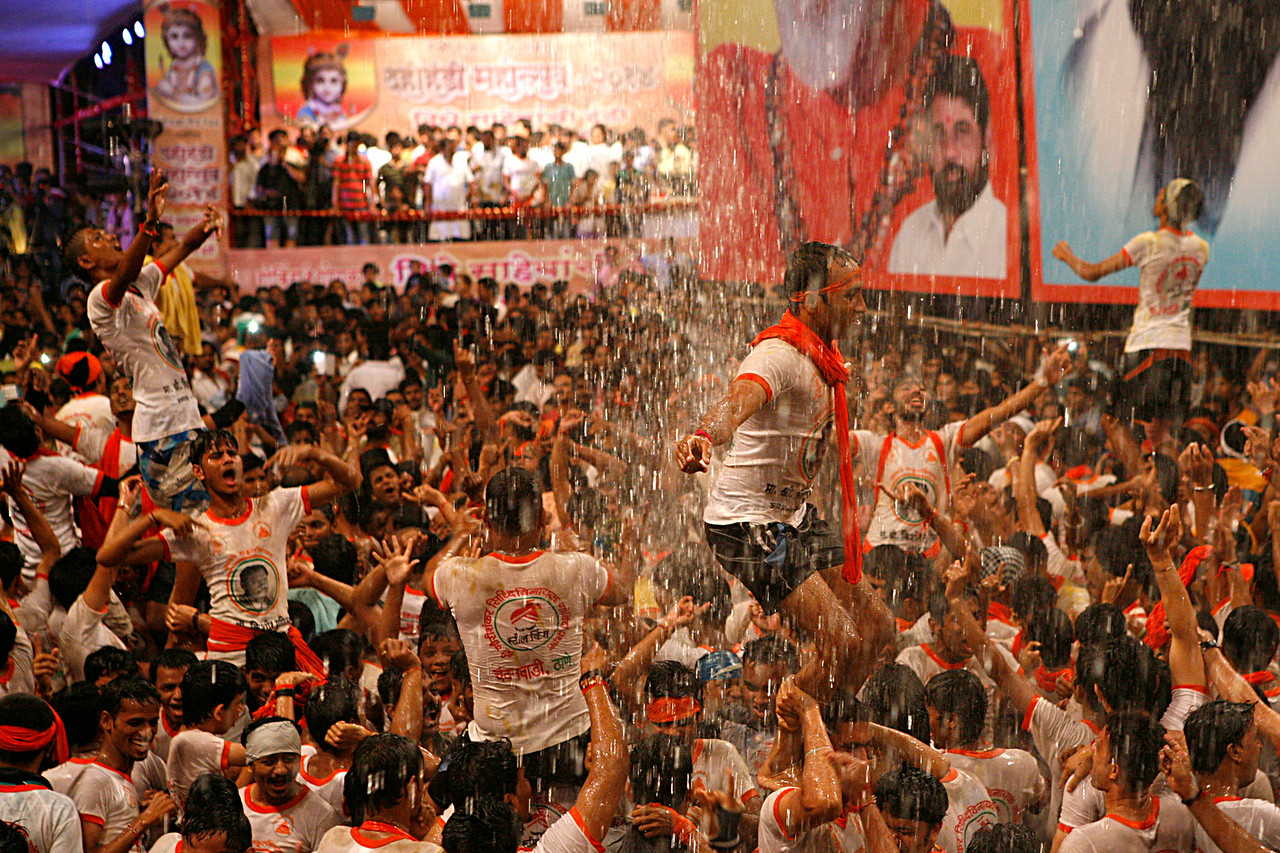 Celebration after success at Dahi Handi in Thane, India