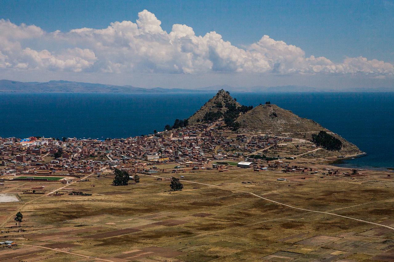 View of Lake Titicaca on the way from La Paz to Copacabana, Bolivia