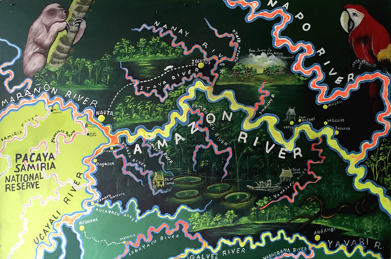 Map of the Amazon river and its tributaries near Iquitos, Peru