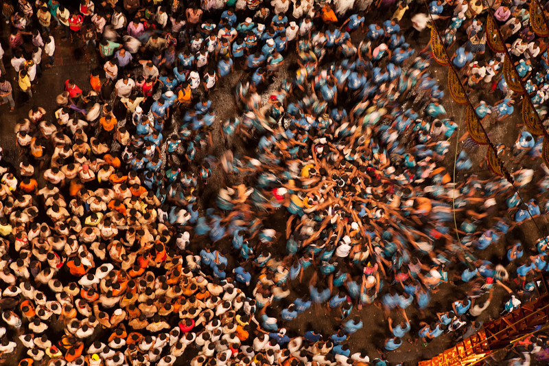 Group gathers at the centre for Dahi Handi, Thane, India