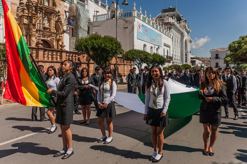 School band performing in the main plaza of Sucre, Bolivia