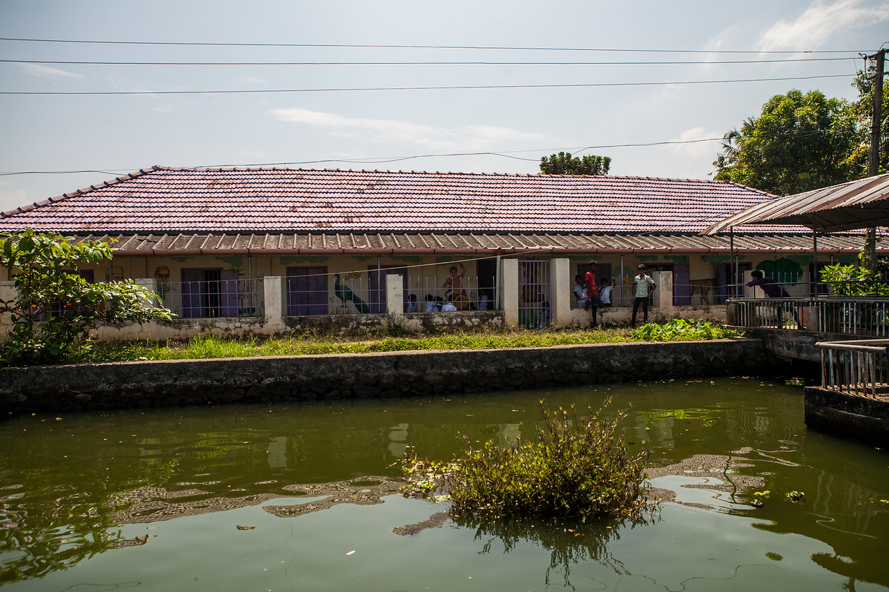 School at Alleppey backwaters, Kerala, India