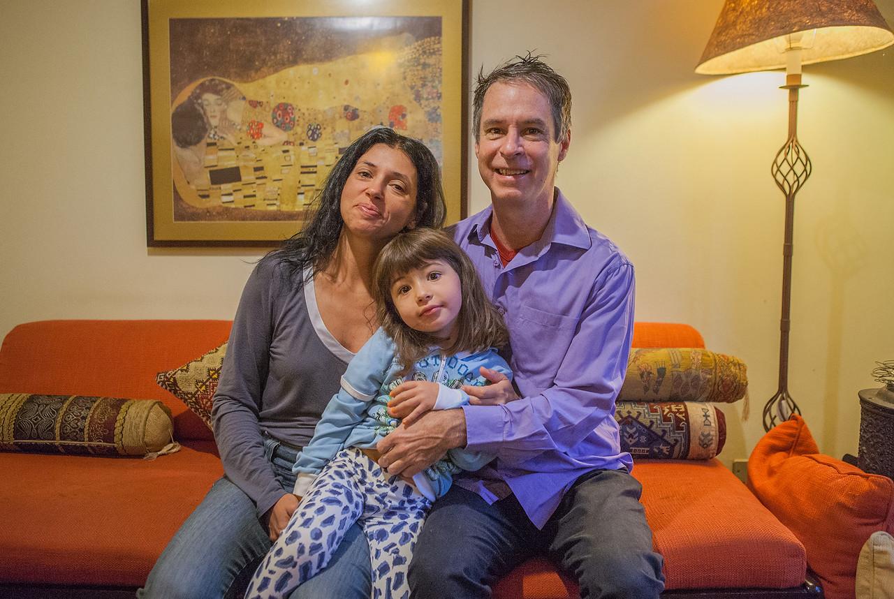 Steve, Patricia and Luana at their home, Sao Paulo, Brazil