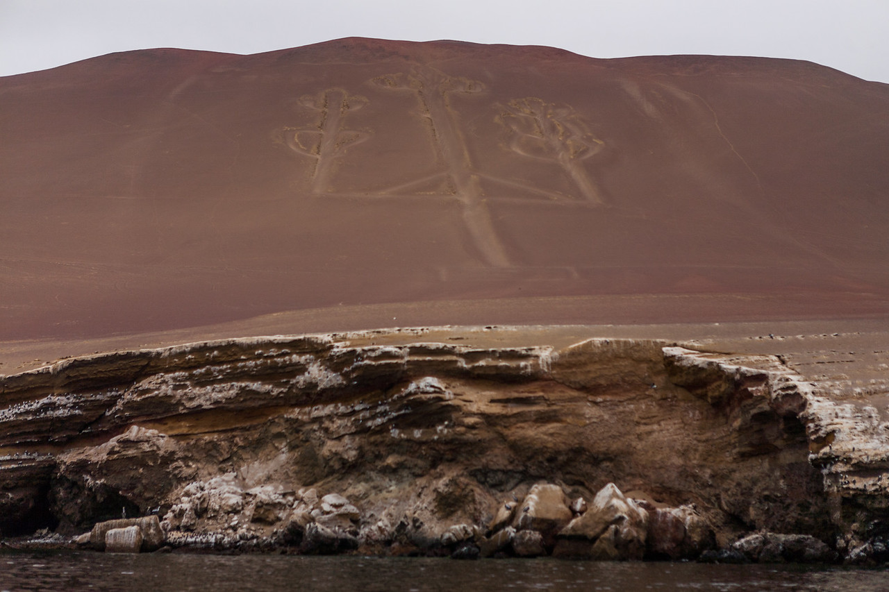 Geoglyph near Islas Ballestas, Peru