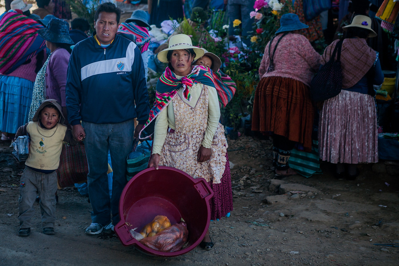 Family out for shopping near La Paz, Bolivia