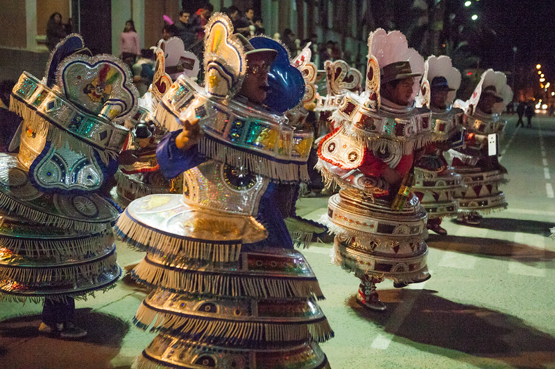 Men dressed as demons dancing during the festival of the Virgin of Guadalupe in Tupiza, Bolivia