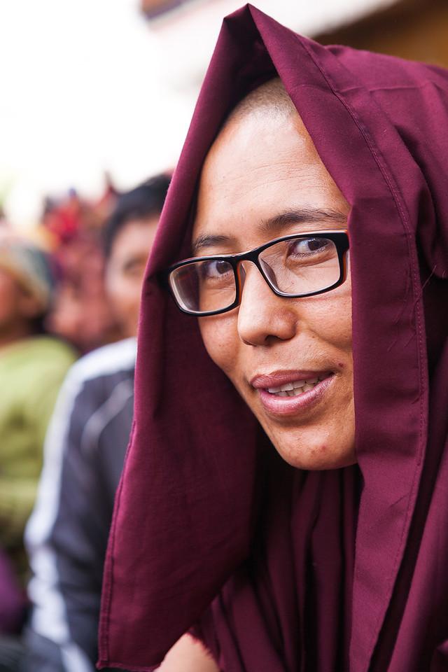 A young nun at the Sani festival in Zanskar, India
