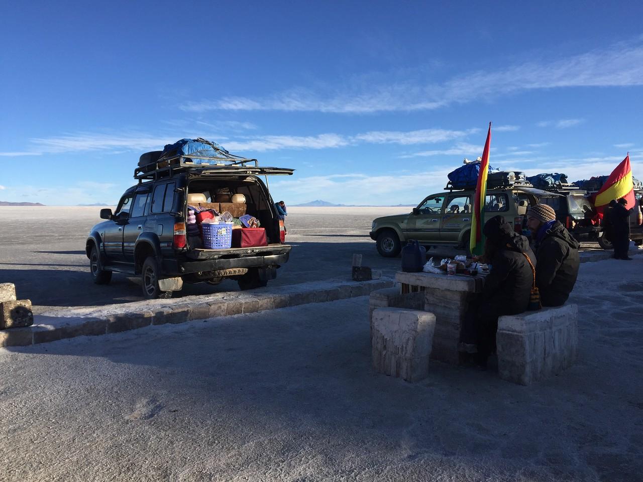 Breakfast on Salar de Uyuni, Bolivia