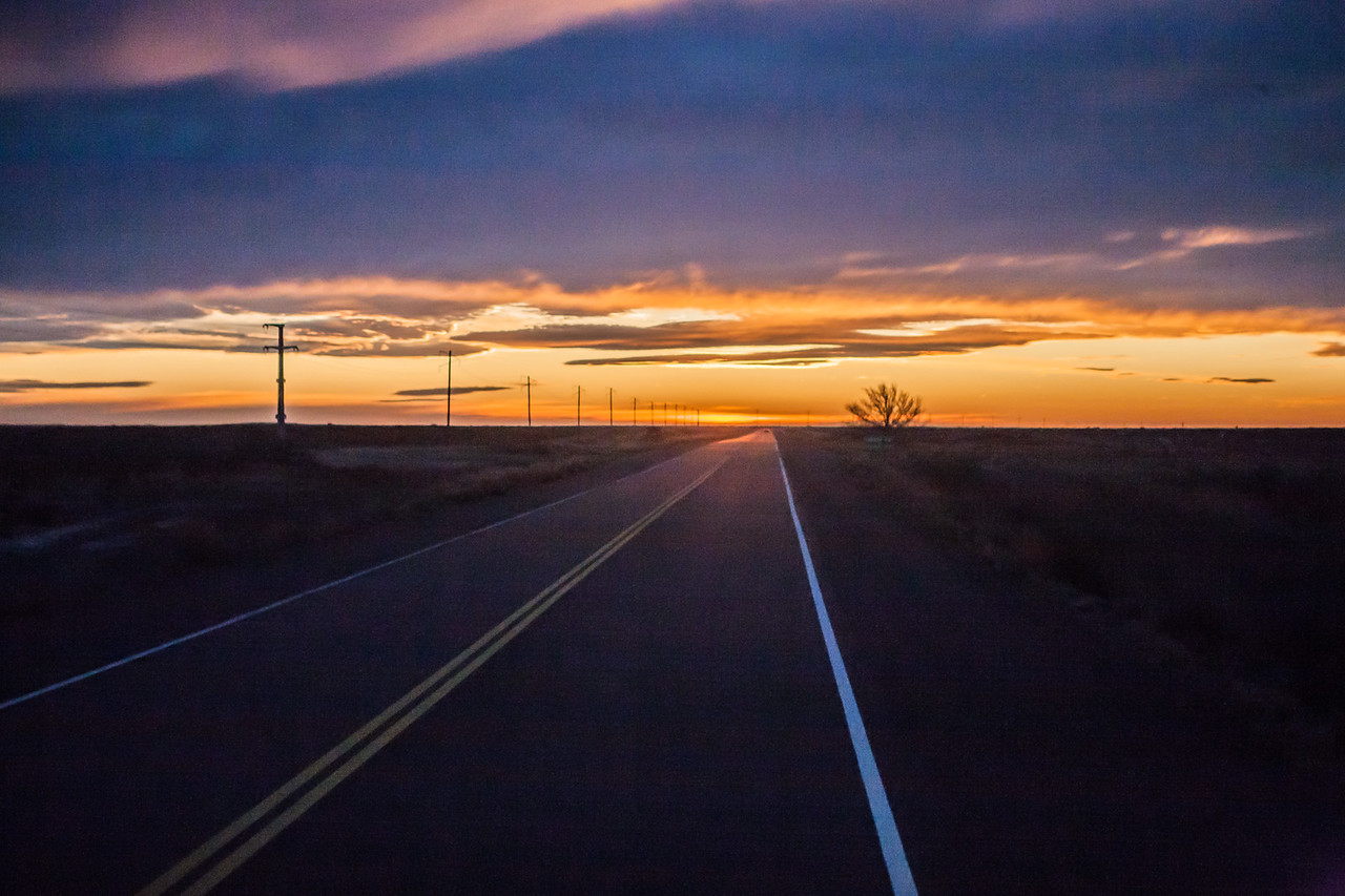 Sunset on the road from Peninsula Valdes to Puerto Madryn in northern Patagonia, Argentina