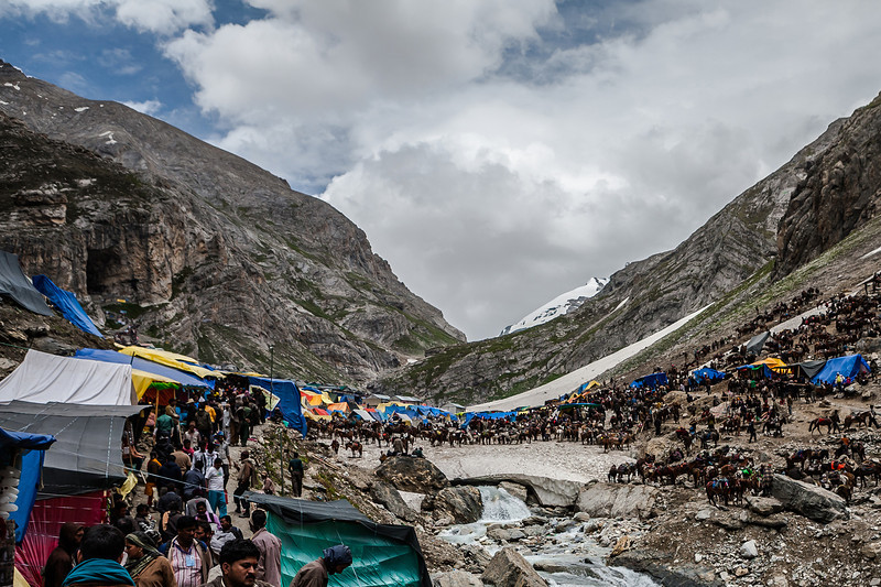 Entrance to the holy Amarnath cave, Kashmir, India