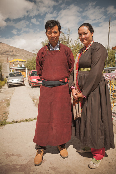 A young couple from Zanskar dressed in traditional clothes