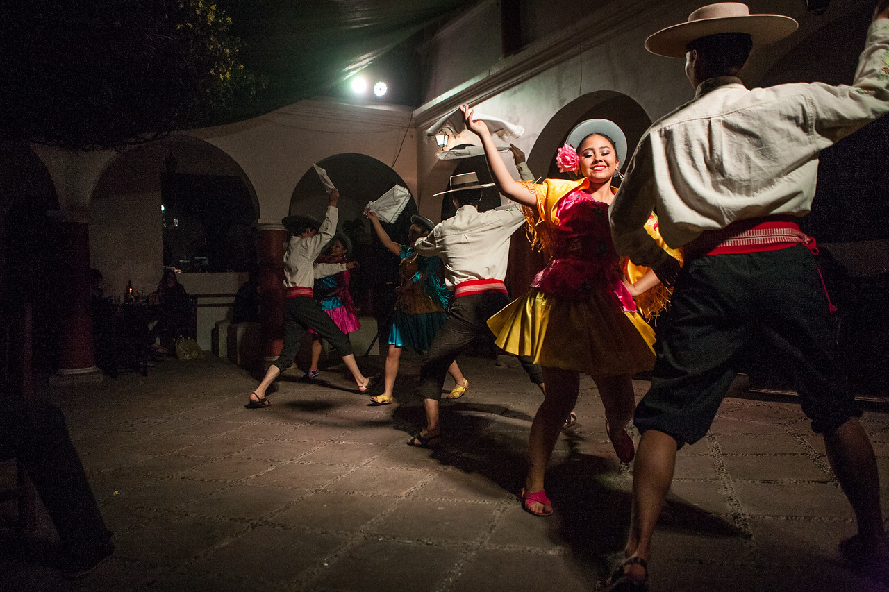 Traditional dances at the Bolivian night at a hostel in Sucre, Bolivia