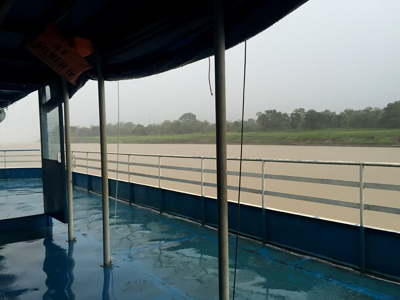 Rainy day on Amazon river, Peru