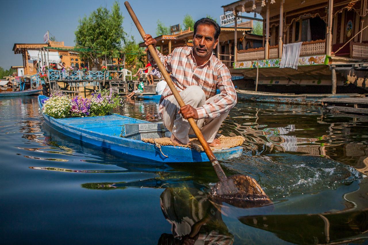 Flower vendor at the Dal lake, Srinagar, Kashmir