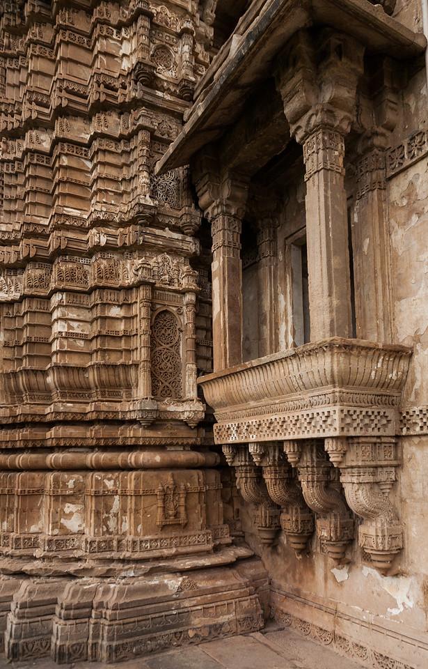 Carved pillars of Jami Masjid at Champaner in Gujarat, India