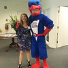 Project LEARN Executive Director LZ Nunn with UMass Lowell's Rowdy the River Hawk, aka Derek Kohnle of Lowell