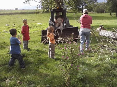A visit to my brother's farm upnorth almost always involves chores of some kind.  :)  My grandson, Izaak, (left) helped collect wood with cousins, Cole and Ella, and their mom, Nina, at Uncle Ed's farm in Northern Minnesota.  Brother, Ed, is driving the skid-vu tractor.