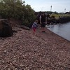 Throwing rocks into Lake Superior