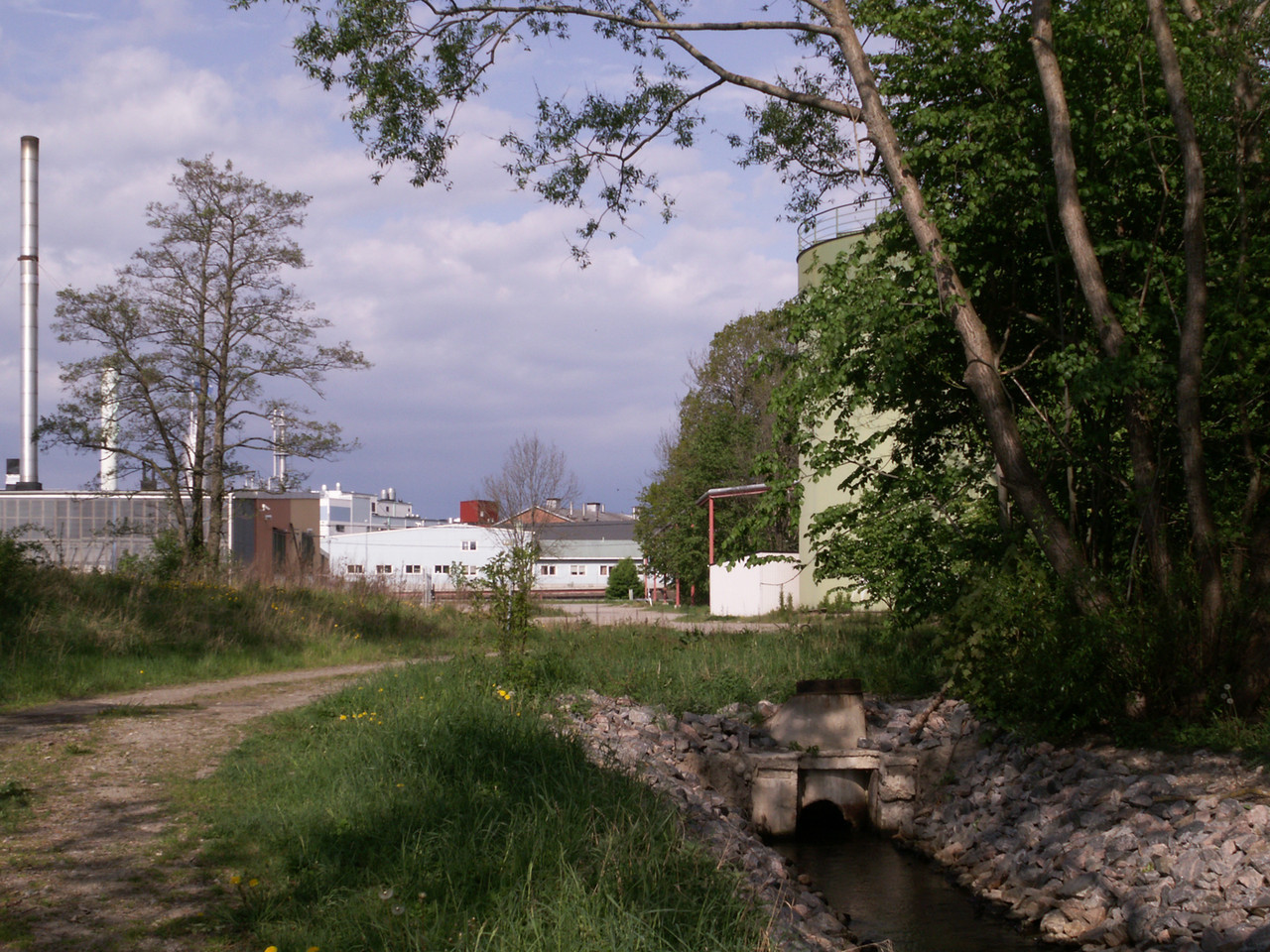 Behind the communal sewage plant, Gorsingeholmsvägen. The Pfizer/DSM sites seen from the east. 2007 May 19 @ 08:58
