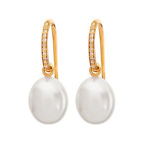 Strömdahls Juveler http://www.stromdahl.se  08 24 04 65 Örhängen med 22 diamanter 0,12 carat, Släta påhängsdelar med sötvattens pärlor Pris ca 8.000 kr