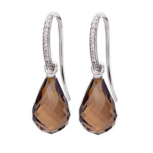 Strömdahls Juveler http://www.stromdahl.se  08 24 04 65 Örhängen med 22 diamanter 0,12 carat. 175/EP26 Släta påhängsdelar med rök kvarts. Pris ca: 9.000 kr